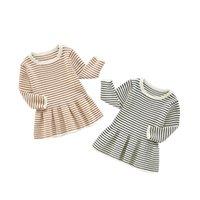 ZHBB Korean Baby Girls Knitted Sweater Dresses Stripes Full Sleeve Spring Winter Cute Children Dress