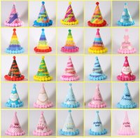 Renkli Doğum Günü Şapkalar Kırmızı Pembe Mavi Kürk Topu Kap Parti Çocuk Zirve Şapka Yetişkin Çocuk Doğum Günü Kapaklar