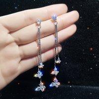 Three Butterfly Crystal Drop Bijoux Long Tassel Dangle Earrings for Women Statement Earring Jewelry Gifts