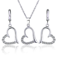 Earrings & Necklace Wholesale 2021 White Gold-Color African Costume Jewelry Set Women Heart Wedding Sets Pendant 6SW-64