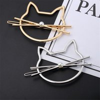 PCS Korean Type Fashionable Jewelry Cute Cutout Cat Shaped Pearl Clip Female Headwear Bobby Pin Hairpin Hair Accessories1