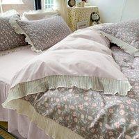 Bedding Sets Luxury 3Pcs Princess Set Single Double Ruffles Duvet Cover Quilt Bed Comforter Pillowcases Home Textiles