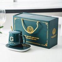 350 ml Taza termoestática de cerámica Manejo de lujo simple 55 grados con costa de calefacción 5 estilo taza de taza de café taza de café de cumpleaños Oficina de regalo de boda de cumpleaños por DHL A15