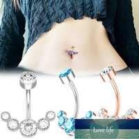 1Pcs Surgical Steel Women Crystal Belly Button Piercing 14G Sexy Belly Ring Rose Gold Black Zircon Navel Piercing Bar Jewelry