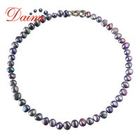 Dmnfp407 naturlig sötvatten svart / vit / rosa / lila halsband fina pärl smycken för kvinnor