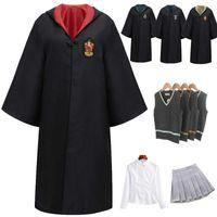 Women Girls Men Halloween Costume Unisex Adult Children Magic School Robe Cloak Cosplay Wizard Cape Boys Uniform College Cosplay Y0903