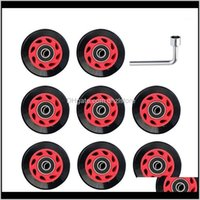 Skateboarding Action Sports & Outdoors8Pcs Outdoor Indoor With Bearing Wrench For Adults Kids Roller Skate Wheels Double Row 82A Wear Resista