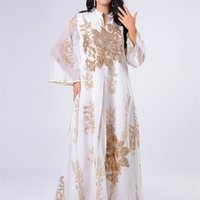 Siskakia Lantejoulas Bordado Abaya Vestido para Mulheres Marroquina Kaftan Turquia Árabe Jalabiya Branco Islâmico Robe étnico Eid 210623