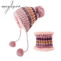 Hats, Scarves & Gloves Sets Maylisacc Female Winter Warm Knitted Hat With Scarf Ring Fashionable For Women Christmas Gift Outdoor Sport Set