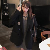 Of The Small Suit Jacket Women's Hundred With Loose Double-row Buckle Hong Kong Wind Casual Badge Embroidered NO.1 Wool & Blends