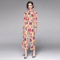 Calças de duas partes de duas peças Llzacoosh Elegante Topo Floral e Calças Set Mulheres Camisa de Manga Longa Blusa + Bolso De Cintura Alta Leg Wide Pant Suit