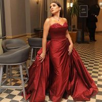 Dark Red Satin Mermaid Formal Evening Dresses For Arabic Women With Overskirt Train Sweetheart Plus Size Celebrity Prom Pageant Gowns Vestidos De Novia 2022