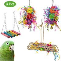 Other Bird Supplies Parrot Toys 4 Packs Chewing Foraging Shredder Toy Cage Hammock Hanging Swing With Bells For Small Parakeets,
