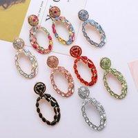 Dangle lustre Ztech Design Ovale Metal Coloré Cristal Crystal Boucles d'oreilles de haute qualité Strass Bijoux Accessoires pour Femmes Filles