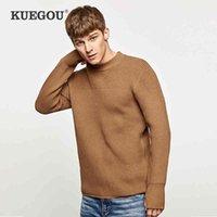 KUEGOU autumn winter Men's sweaters warmth Turtleneck sweater fashion man top blue black plus size DZ-11911 210524
