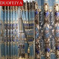 Cortina cortinas duofeiya estilo europeu oco out bordado cortinas imitados pano de seda luxuoso tribunal voile