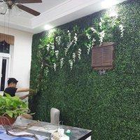 Dekorativa blommor Kransar 200PC per parti Konstgjord Torkmatta Simulering Plast Boxwood Grass Mat 25cm * 25cm Green Lawn för hemträdgård