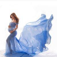 Chiffon Hamile ile Merserize Pamuk kadın Kuyruk Yüzer Kollu Tulum Uzun Etek Fotoğrafçılık Dress67H4
