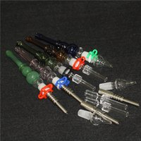 hookahs Glass Nectar Collector Kit with Quartz Tips Dab Straw Oil Rigs Silicone Smoking Pipe