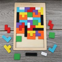 Wooden Tetris Puzzle Tangram Jigsaw Brain Teasers Toy Building Blocks Game Wood Puzzles Box Intelligence Educational Gift for Kids 4655 Q2