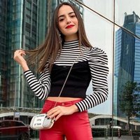 Female Long Sleeve Turtleneck Pollover Sweater Women Clothes Causal Striped Soft Autumn Winter Knitted Outfit Women's Sweaters
