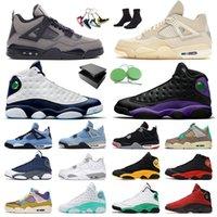 أحذية Nike Air Jordan Retro 4 Off White Sail AJ Jordans Jumpman 13 Flint أحذية كرة السلة للرجال والنساء What The University Blue Travis Scott Cactus Jack Reverse Bred أحذية رياضية