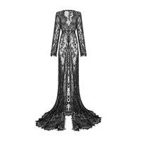 Robes décontractées Noir / Blanc Robe Femme Enceinte Femmes Sexy Manches longues à manches longues à la taille haute V eccolaire Voir à travers la robe de sirène à travers la longueur de lacet