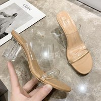 Sandals Summer High Heels Women Shoes Fashion Transparent Sexy Hollow Breathable Slippers Square Toe Female Clear Slides