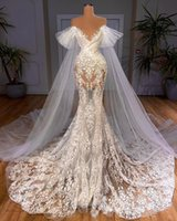 2021 Plus Size Arabic Aso Ebi Luxurious Lace Mermaid Wedding Gowns Sheer Neck See Through Vintage Bridal Dresses ZJ787