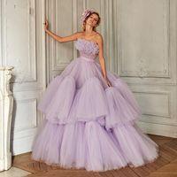 Gorgeous Lavender Tulle Prom Dresses Ruffled Fluffy Long Evening Dress Strapless beaded bodice Formal Gowns vestido de noiva princesa robes de soirée