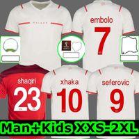2021 سويسرا Soccer Jerseys Suisse 21 22 Away White Jankto Sow Gavranovic Behrami Embolo Seferovic Kaderabek Husbauer Shaqiri قمصان كرة القدم الزي الرسمي