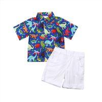 2 7Y Nouveau-né Baby Boys Girls Vêtements Ensembles à manches courtes Dinosaure Floral Tops Chemises Pantalons Outfits