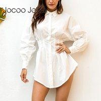 Casual Dresses Jocoo Jolee Women Fashion Elegant Shirt Dress Office Ladies High Waist Slim A-Line White Black Mini 2021