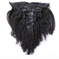 Clip Indian Human Hair Extensions Virgin Afro Kinky Clip riccio in estensioni dei capelli 7pcs Set 100g o 10pcs Set 120g colore naturale 12-28inch
