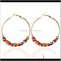 & Hie Jewelryshuangr Rice Bead Temperament Buckle Ear Clip Hoop Alloy Round Circle Geometric Earrings High Quality Big Earrings1 Drop Delive