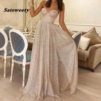 Ivory Split A-Line Prom Dresses Sweetheart Neck 2022 Shiny Sequined robe de soiree Formal Party Evening Gowns vestido de gala