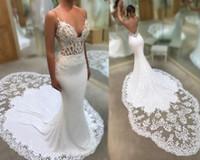 Sexy Spaghetti Straps Mermaid Wedding Dress Beach Backless Chapel Train Lace Applique Bridal Gowns Vintage Garden Summer Custom 2022