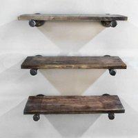 1x Industrial Pipe Shelf Bracket Wall Mount Floating Shelves Storage Holder DIY Hooks & Rails