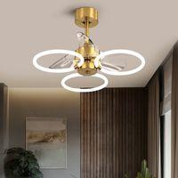 Light Luxury Modern Minimalista Lampade a soffitto invisibile a soffitto con lampada da ventilatore elettrica Sala da pranzo soggiorno Camera da letto Fans Chandeliers