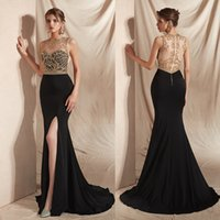 Long Formal Evening Dress for Women, Beaded Bodice Stretchy Satin Skirt Sleeveles Fit and Flare Sleeveless Prom Gown with Zipper
