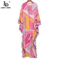 Tasarımcı Yaz Vintage Kat Uzunlukta Uzun Elbise Kadın O-Boyun Yay Kemer Geometrik Baskı Gevşek Kadın Maxi 210522