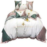 Set di biancheria da letto patchwork colorato ricamo ape ape corona design cuscino in cotone cuscino cuscino federa 1pair di lusso casa decorativa shages