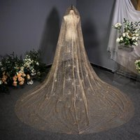Bridal Veils Gold Bling Luxury 2021 Sequins 3 Meters Long Women Cathedral Wedding Party Veil Accessoire Mariage