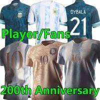 2021 Argentina Soccer Jersey 200 aniversario Messi Dybala di Maria Higuain Kun Aguero Lautaro Edición especial Hombres Mujeres Kits Camisetas de fútbol Jerseys Pantalones