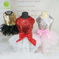 Dog Apparel 2021 Summer Breathable Puppy Wedding Princess Bow Tie Lace Sequins Skirt Tutu Dress Pet Clothes Dresses15