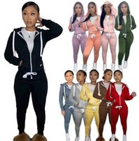 2021 Womens Plush Sweater Designer Sports Tracksuits Joggers Two Piece Pants Set Hoodies Drawstring Zip Outfits