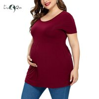 Maternity Tops & Tees Pregnancy Clothes Short Sleeve Solid Color Pregnant T-Shirt Plus Size Shirt Loose Tunic