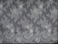 Tissu de dentelle chantilleuse double bilatérale française pour robe de mariée bricolage blanc noir 3 mètres / pc, 15mètres