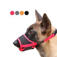 개 총구 나일론 소프트 버즈 안티 생물 짖는 짖는 메쉬 통기성 애완 동물 입 커버 작은 중형 대형 개 4 색 4 색 4 개 v2