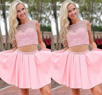 Cute Pink Homecoming Dresses Two Pieces Hard-working Beaded Boat Neckline Sheer Cap Sleeves A-line Gradaution Prom Party Dress Girls M170